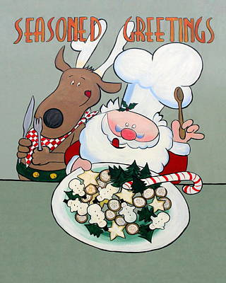 Enjoying Christmas Cookies Poster by Sally Weigand