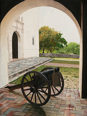 Poster featuring the painting Espiritu Santo Mission Cannon by Jimmie Bartlett