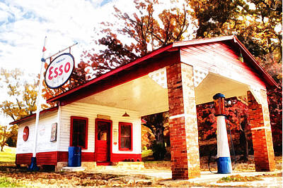 Poster featuring the painting Esso Filling Station by Lynne Jenkins