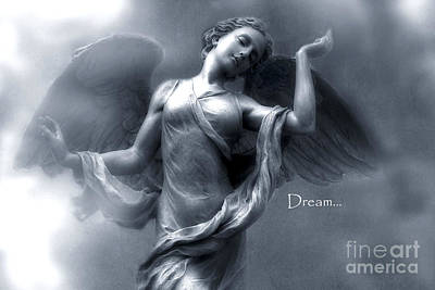 Ethereal Dreamy Surreal Heavenly Angel Wings Poster by Kathy Fornal