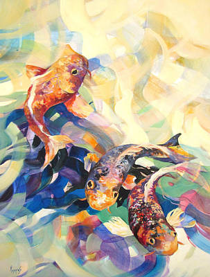 Poster featuring the painting Ethereal Koi 3 by Rae Andrews