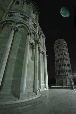 Ethereal Moonlight Scene Of Duomo Santa Poster