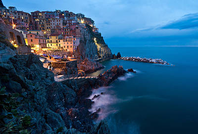 Evening In Manarola Poster by Mike Reid