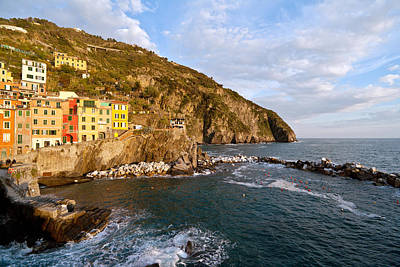 Evening Light Riomaggiore Poster by Mike Reid