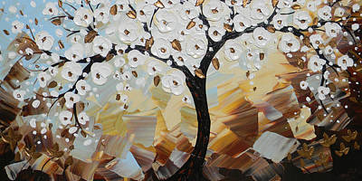 Evening Peace White Blossoming Tree Of Life Poster by Christine Krainock