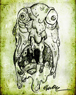 Poster featuring the drawing Evil Snot Monster by Nada Meeks