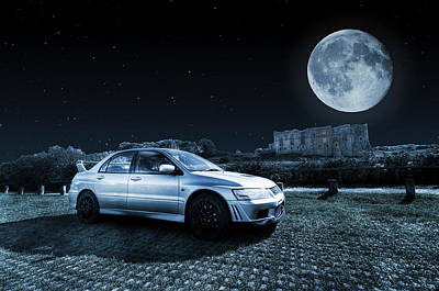 Poster featuring the photograph Evo 7 At Night by Steve Purnell