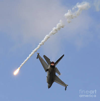 F-16am Fighting Falcon Spitting Flare Poster