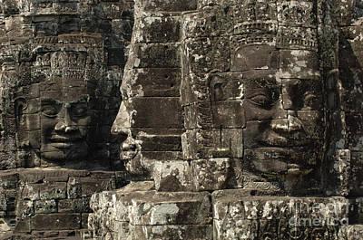 Faces Of Banyon Angkor Wat Cambodia Poster by Bob Christopher