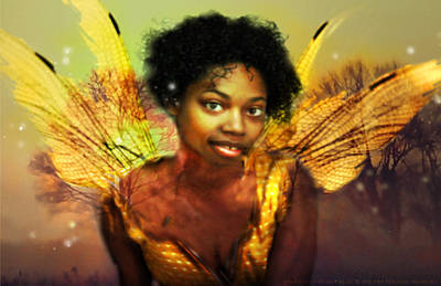 Poster featuring the digital art Faery Dawn by Nada Meeks
