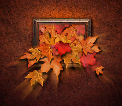 Fall Leaves Coming Out Of Old Antique Frame Poster by Angela Waye