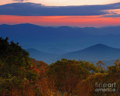 Fall Sunset Sky At Brasstown Bald Georgia Poster