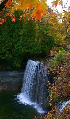 Fall Waterfall Poster by Shirley Mailloux