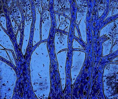 Falling Leaves Blue Poster