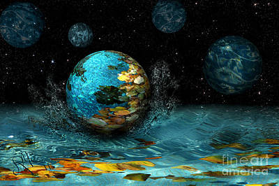 Poster featuring the digital art Falling Stars by Rosa Cobos