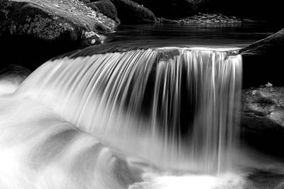 Falling Water Black And White Poster