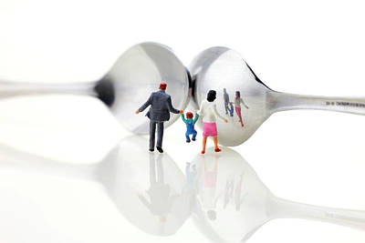 Family In Front Of Spoon Distoring Mirrors II Poster by Paul Ge