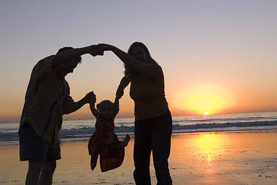 Family Portrait On The Beach At Sunset Poster by Rich Reid