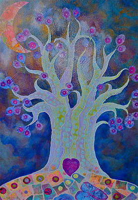 Fantasy Tree On Night Blue Poster by Teresa Grace Mock