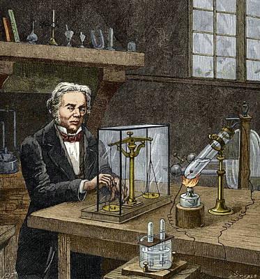 Faraday's Electrolysis Experiment, 1833 Poster