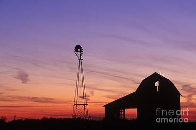 Farm At Sunset Poster by David Davis and Photo Researchers
