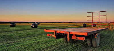 Farm Trailer With Bales At Sunset Poster