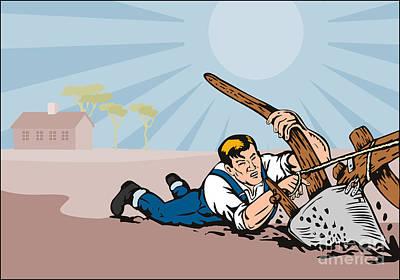 Farmer Dragged Plow Plowing Farm Retro Poster by Aloysius Patrimonio