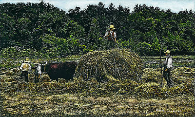 Farmers Haying Poster by Robert Goudreau
