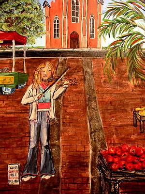 Poster featuring the painting Farmer's Market Fiddler by Lyn Calahorrano