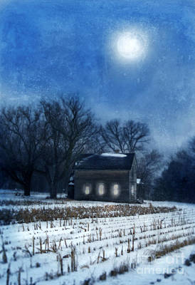 Farmhouse Under Full Moon In Winter Poster