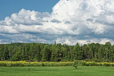 Farmland, Forests And Clouds On Sunny Day Poster