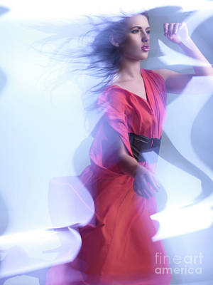 Fashion Photo Of A Woman In Shining Blue Settings Wearing A Red  Poster by Oleksiy Maksymenko
