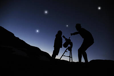 Father And Son Looking Through A Telescope At Nigh Poster