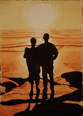 Poster featuring the painting Father And Son by Teresa Beyer