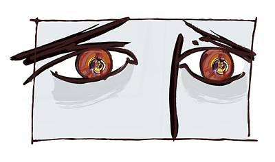 Fearful Eyes, Artwork Poster by Paul Brown