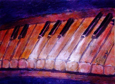 Feeling The Blues On Piano In Magenta Orange Red In D Major With Black And White Keys Of Music Poster by M Zimmerman MendyZ