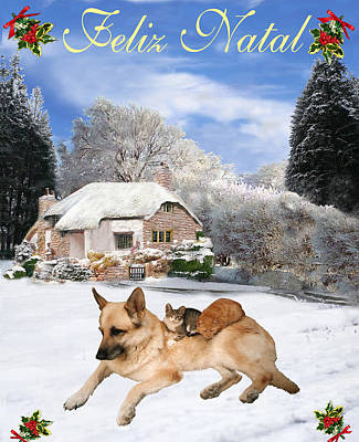Felix Natal German Shepherd Holiday Portuguese Christmas Card Poster