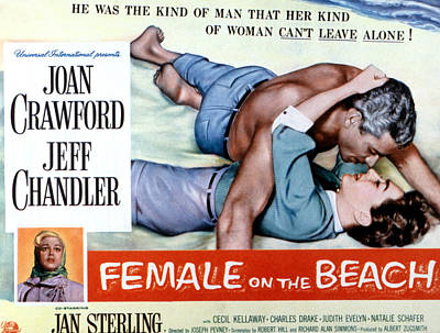 Female On The Beach, Jeff Chandler Poster by Everett