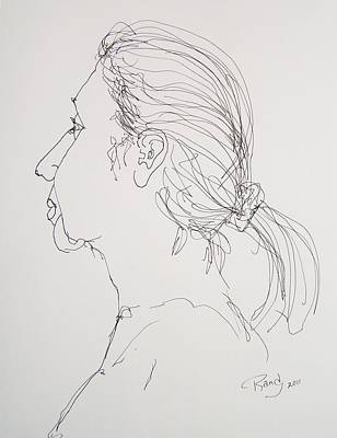 Poster featuring the drawing Female Portrait 05 by Rand Swift