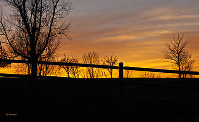 Fence At Sunset Poster by Edward Peterson