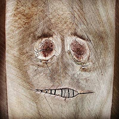 #fence #face #wood #knot Poster