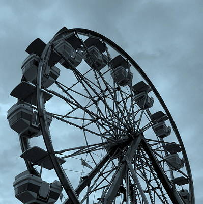 Poster featuring the photograph Ferris Wheel Blue Sky by Ramona Johnston