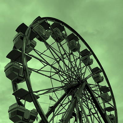 Poster featuring the photograph Ferris Wheel Green Sky by Ramona Johnston