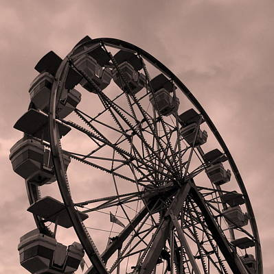 Poster featuring the photograph Ferris Wheel Pink Sky by Ramona Johnston