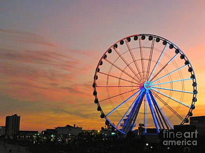 Poster featuring the photograph Ferris Wheel Sunset 2 by Eve Spring