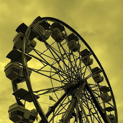 Poster featuring the photograph Ferris Wheel Yellow Sky by Ramona Johnston