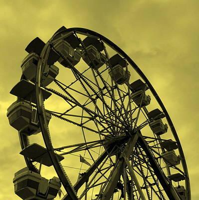 Ferris Wheel Yellow Sky Poster by Ramona Johnston