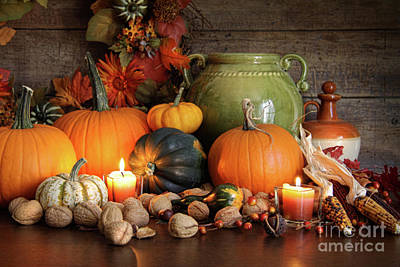 Festive Autumn Variety Of Gourds And Pumpkins  Poster