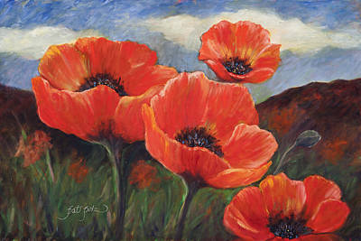 Field Of Orange Poppies Poster