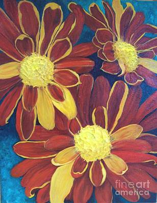 Poster featuring the painting Fiesta Daisies by Lucia Grilletto